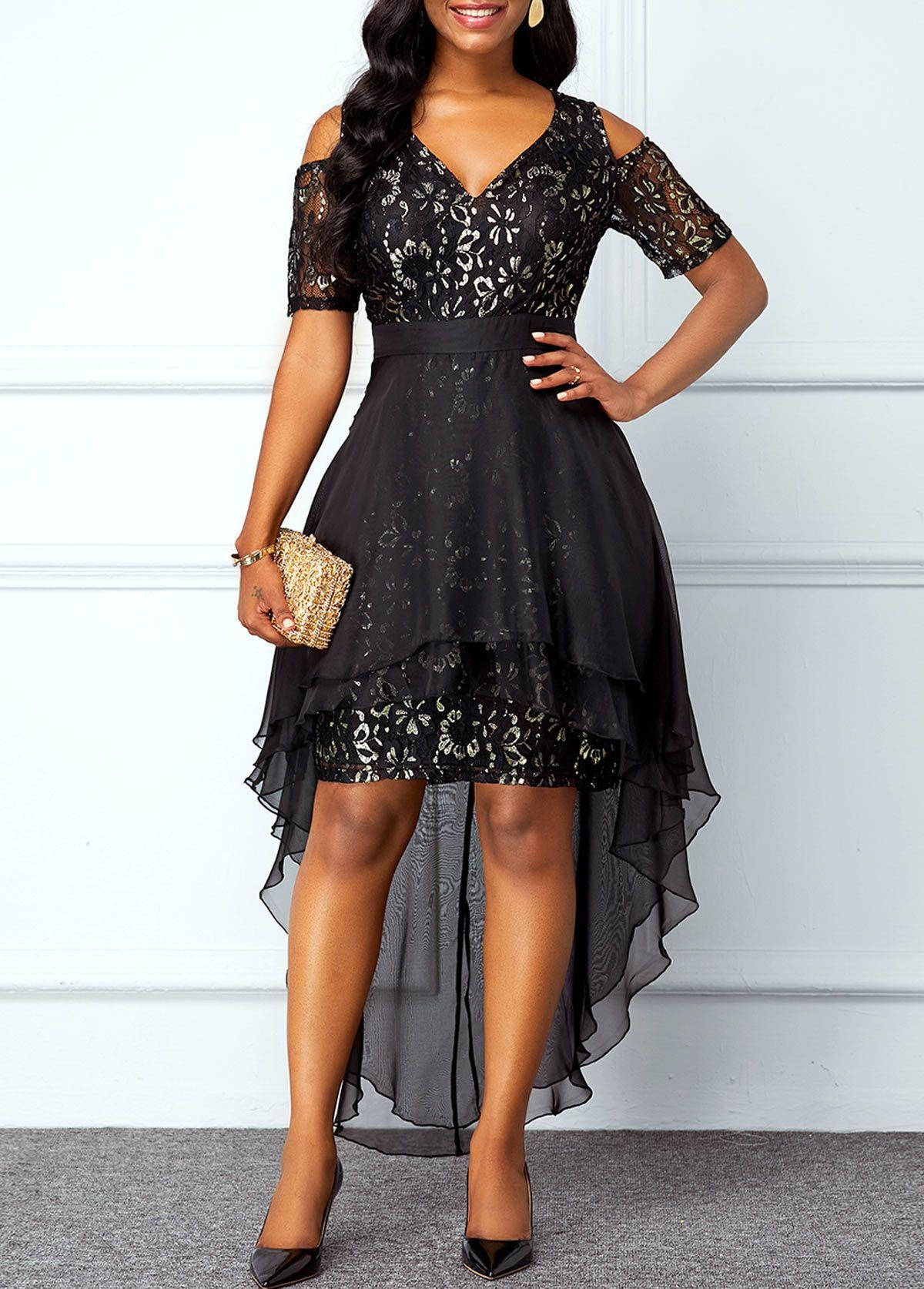 Chiffon Overlay Cold Shoulder High Low Lace Dress | Rotita.com - USD $35.33