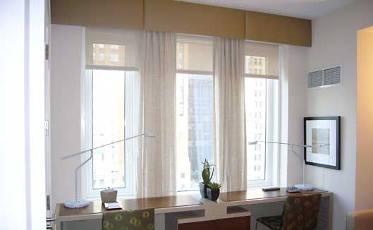 Cornice boards with roller shades. Maybe I should try 3 cornice ...