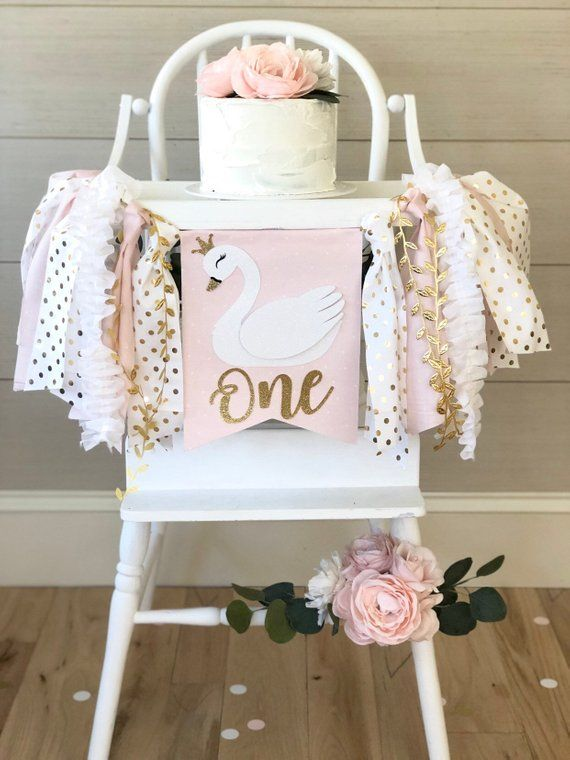 Swan High Chair Banner| Princess 1st Birthday Banner| Pink and Gold Party Theme| Matching Swan Cake Topper and Glitter Confetti #firstbirthdaygirl