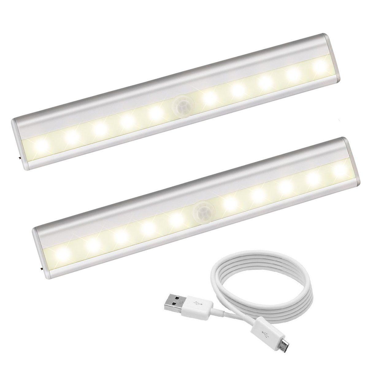 Bon Motion Sensor Closet Lights, 10 LED Rechargeable Under Cabinet Lighting,  Magnetic Strip Stick
