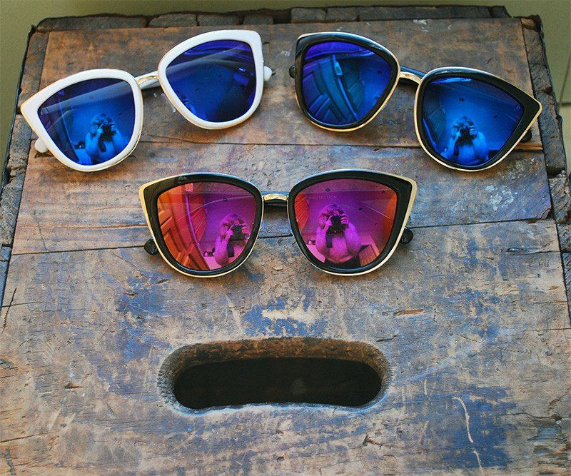 12a3eae3e26 Oversized Cat Eye Mirrored Sunglasses Vintage Black Cateye Glasses - Clara  - Dempsey   Gazelle -