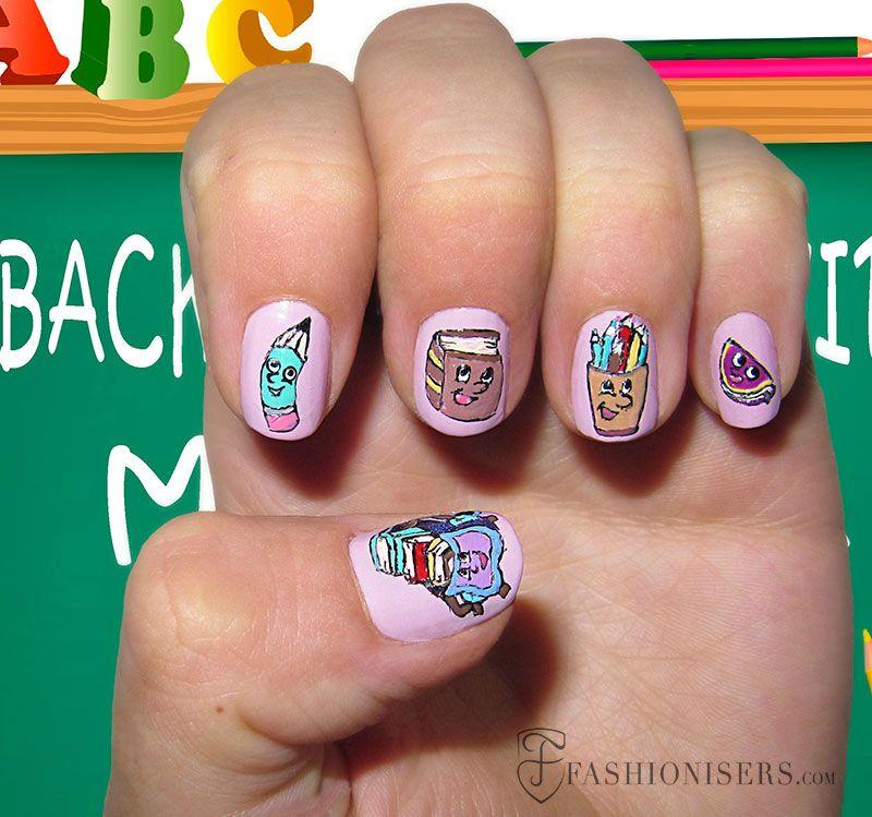 12 Cute Back To School Nail Art Designs - 12 Cute Back To School Nail Art Designs School Nail Art, School