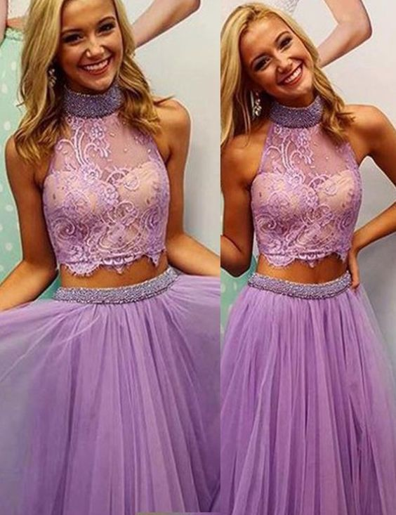 Lavender Prom Dresses, Two Pieces Prom Dresses, Senior Prom Dress ...