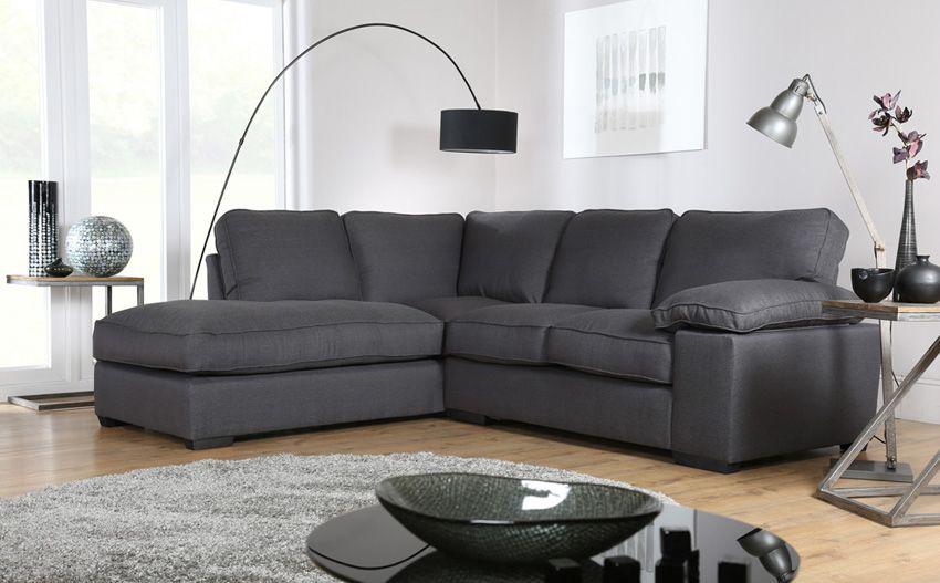 Cassie Charcoal Fabric L Shape Corner Sofa Lhf Fabric Sofas