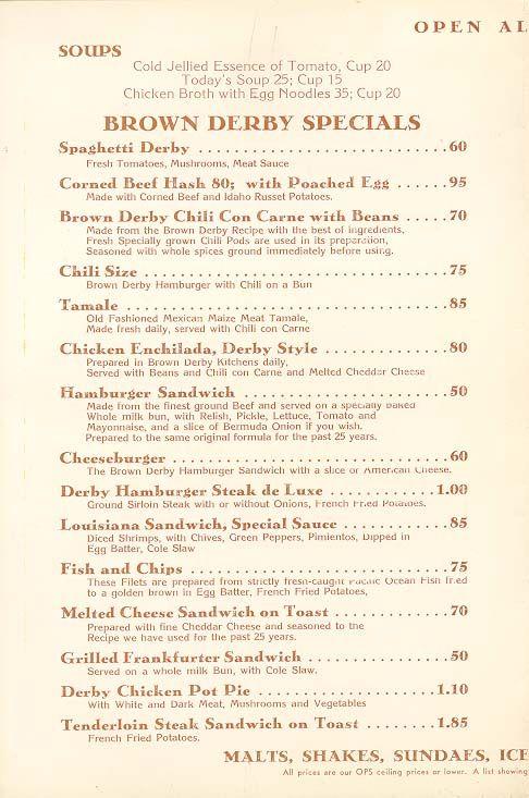 The Brown Derby Menu Hollywood 1952 Vintage Menu Vintage Restaurant Vintage Diner