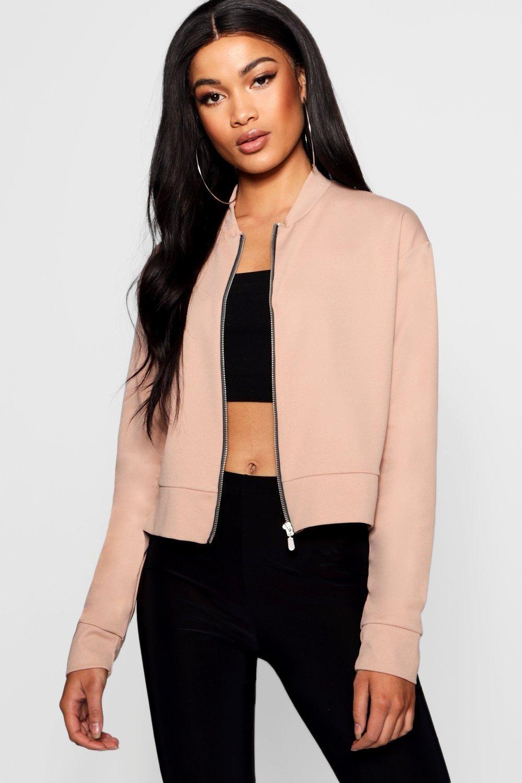 Womens Crepe Bomber Jacket Beige 4 Bomber Jacket Womens Fashion Jackets Womens Jackets Casual [ 1500 x 1000 Pixel ]