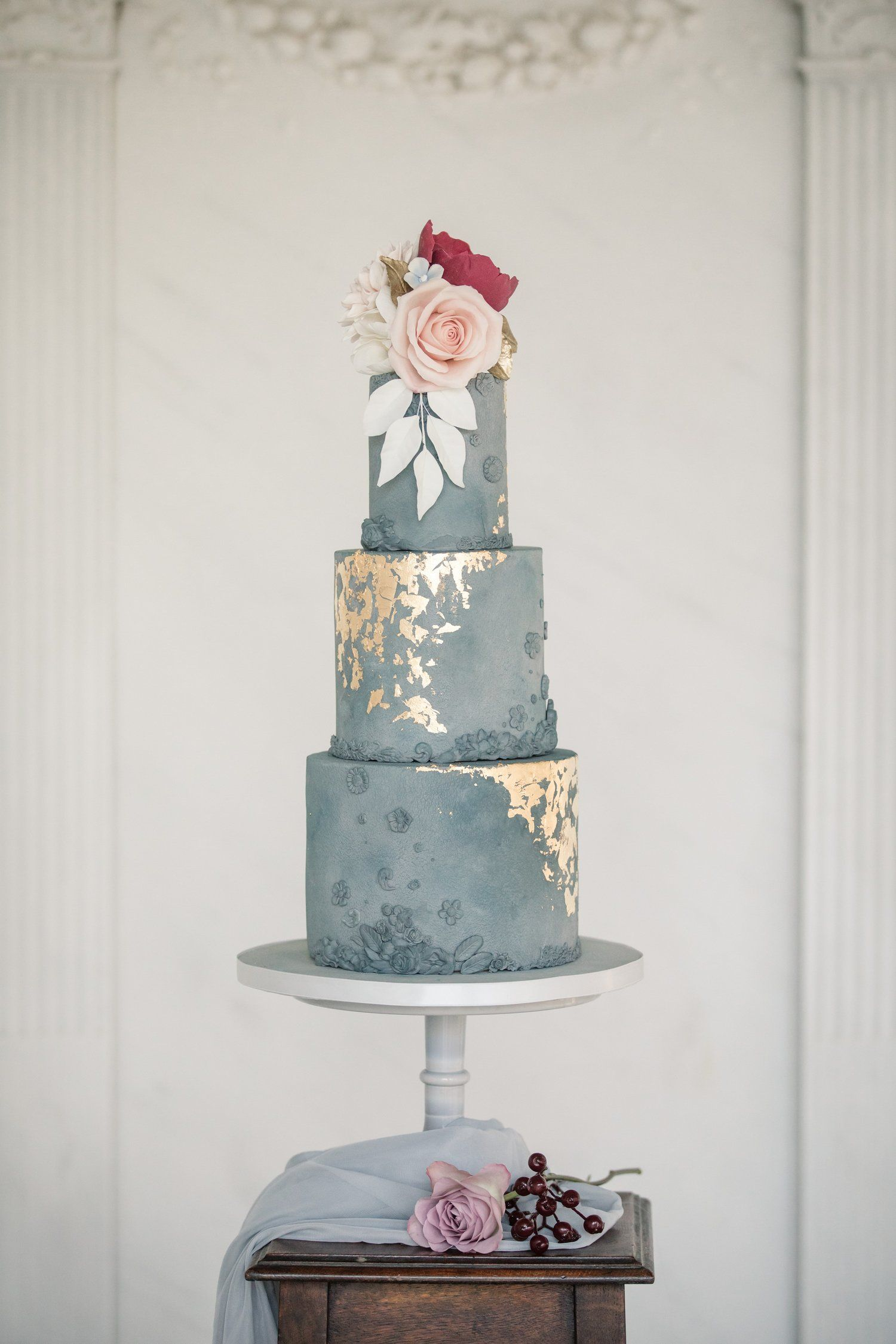 Modern Concrete Wedding Cake With Ethereal Gold Leaf Flecks And
