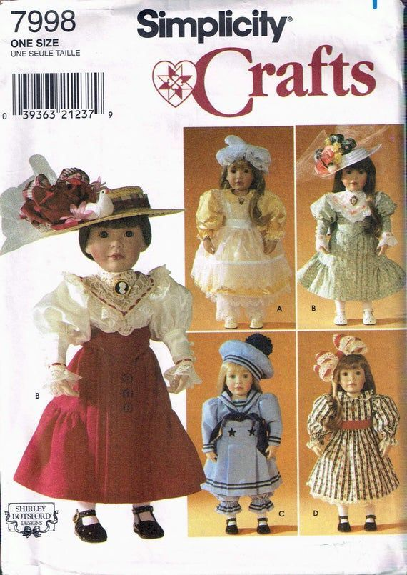 18 Tall Doll Victorian Doll Dress Or Doll Sailor Suit & Doll Hats Craft Sewing Pattern - Simplicity 7998 #victoriandolls 18 Tall Doll Victorian Doll Dress Or Doll Sailor Suit & Doll Hats Craft Sewing Pattern - Simplicity #dollhats 18 Tall Doll Victorian Doll Dress Or Doll Sailor Suit & Doll Hats Craft Sewing Pattern - Simplicity 7998 #victoriandolls 18 Tall Doll Victorian Doll Dress Or Doll Sailor Suit & Doll Hats Craft Sewing Pattern - Simplicity #dollvictoriandressstyles