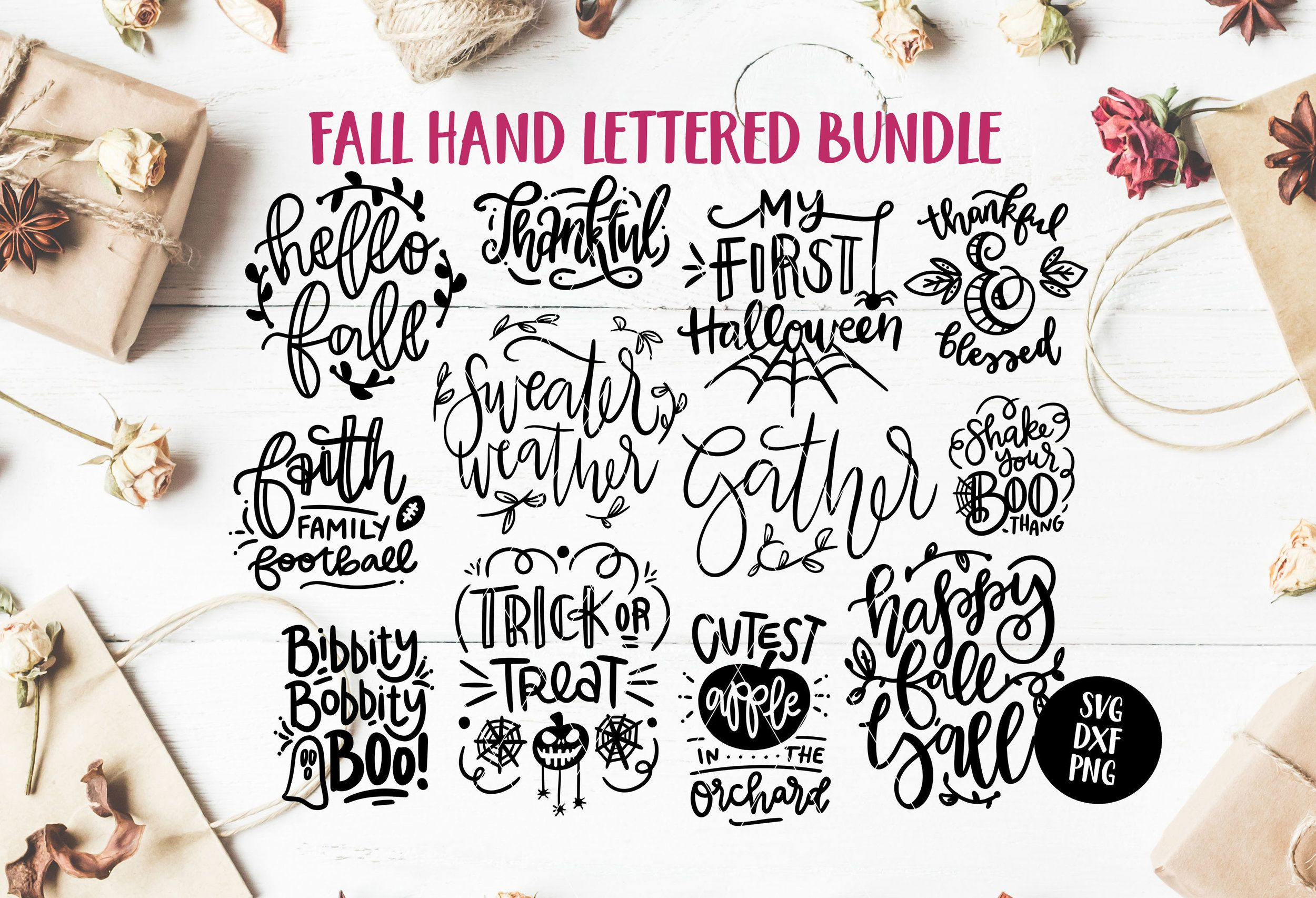 hand lettered svg quote bundle, autumn quote bundle, fall
