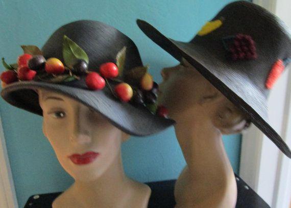 Straw Hats Frank Olive Fruit Vintage 1980s  Cloche  Wide Brim Church Derby