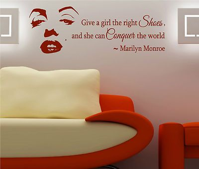 Give A Girl The Right Shoes Marilyn Monroe Wall Art Decal Home Decor Sticker