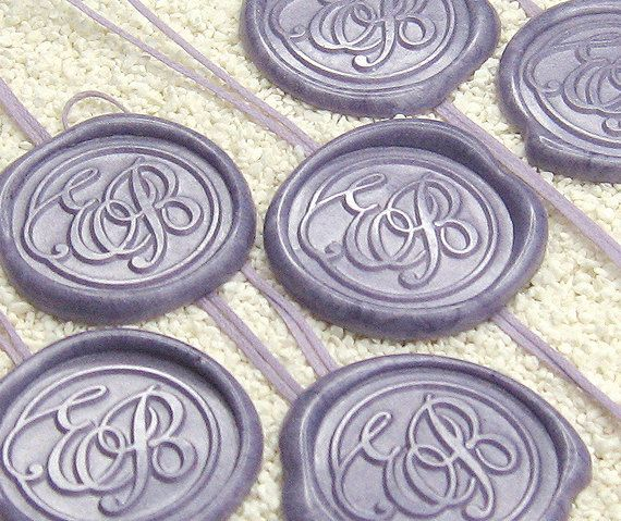 Self Adhesive Wedding Monogram Wax Seal Ornament With Waxed Cotton Cord Qty 100