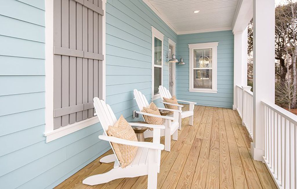Light Blue Painted House Exterior Light Blue White And Gray
