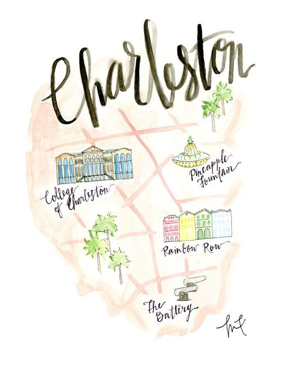 Gatlin South Carolina Map.Charleston Map Watercolor Charleston Sc Archival Print 3rd
