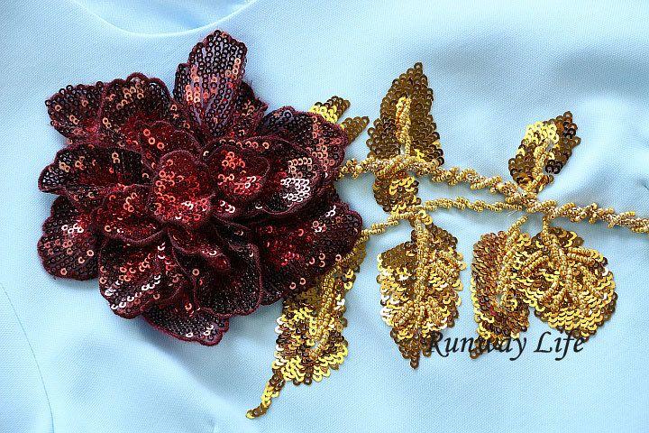 paillette sequin rose flower applique 3/4-sleeve a line short dress sky blue button closure womens dresses autumn dress