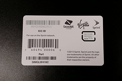Sprint Boost Virgin Mobile iPhone 5s 5c Nano SIM Card ICCID