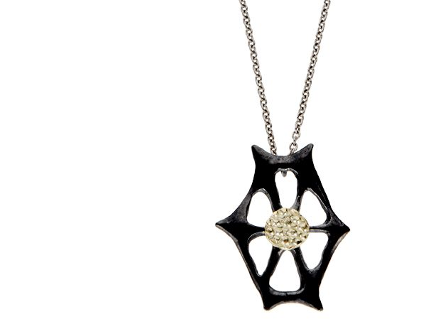 """Blackened Silver Webbed Pendant with 14k Green Gold Stingray Disc and clasp on 18"""" steel chain.    1.75"""" Height by 1.25"""" Width.    NH4S  $520.00 #LaurenWolfJewelry"""