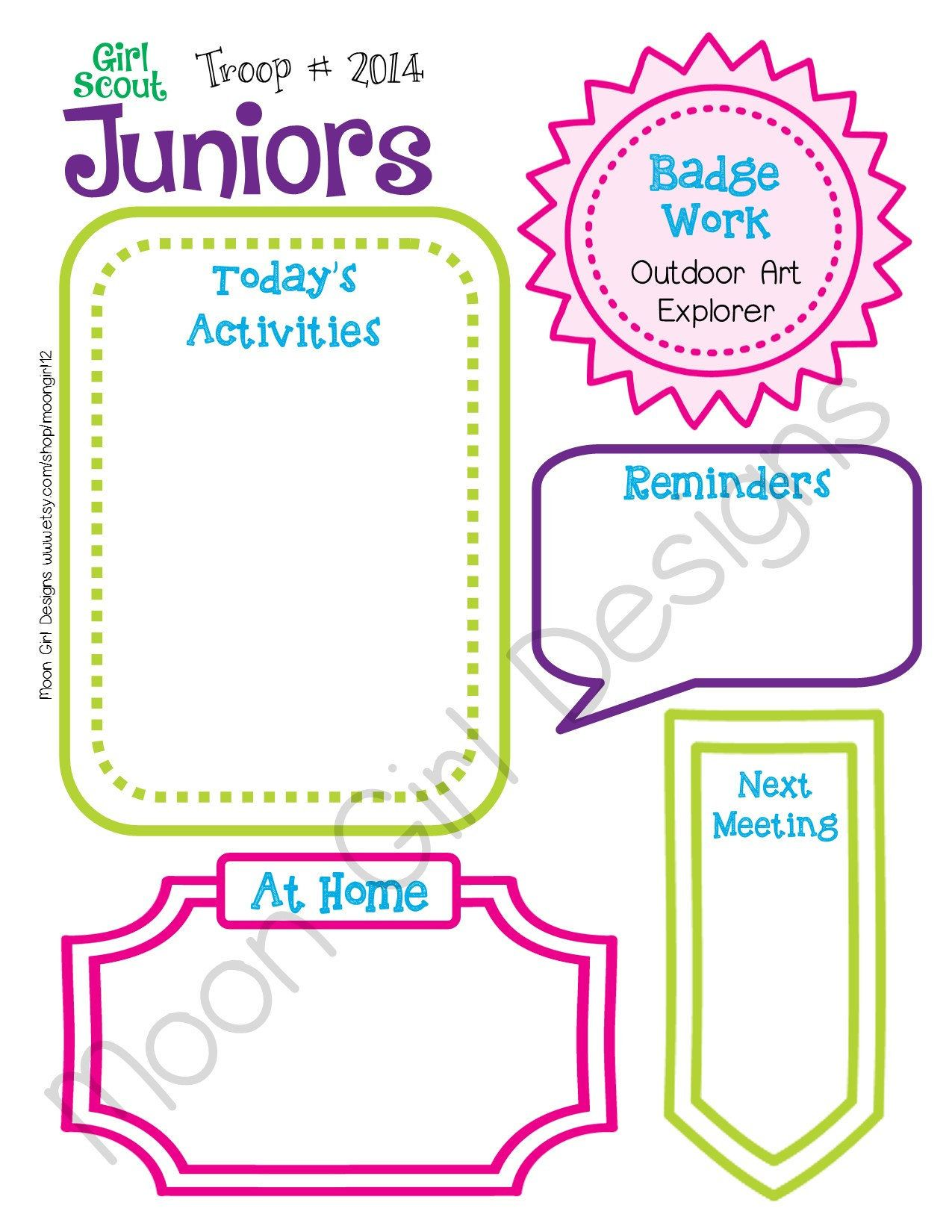 Junior Girl Scout Meeting Activity Planner Troop Fillable