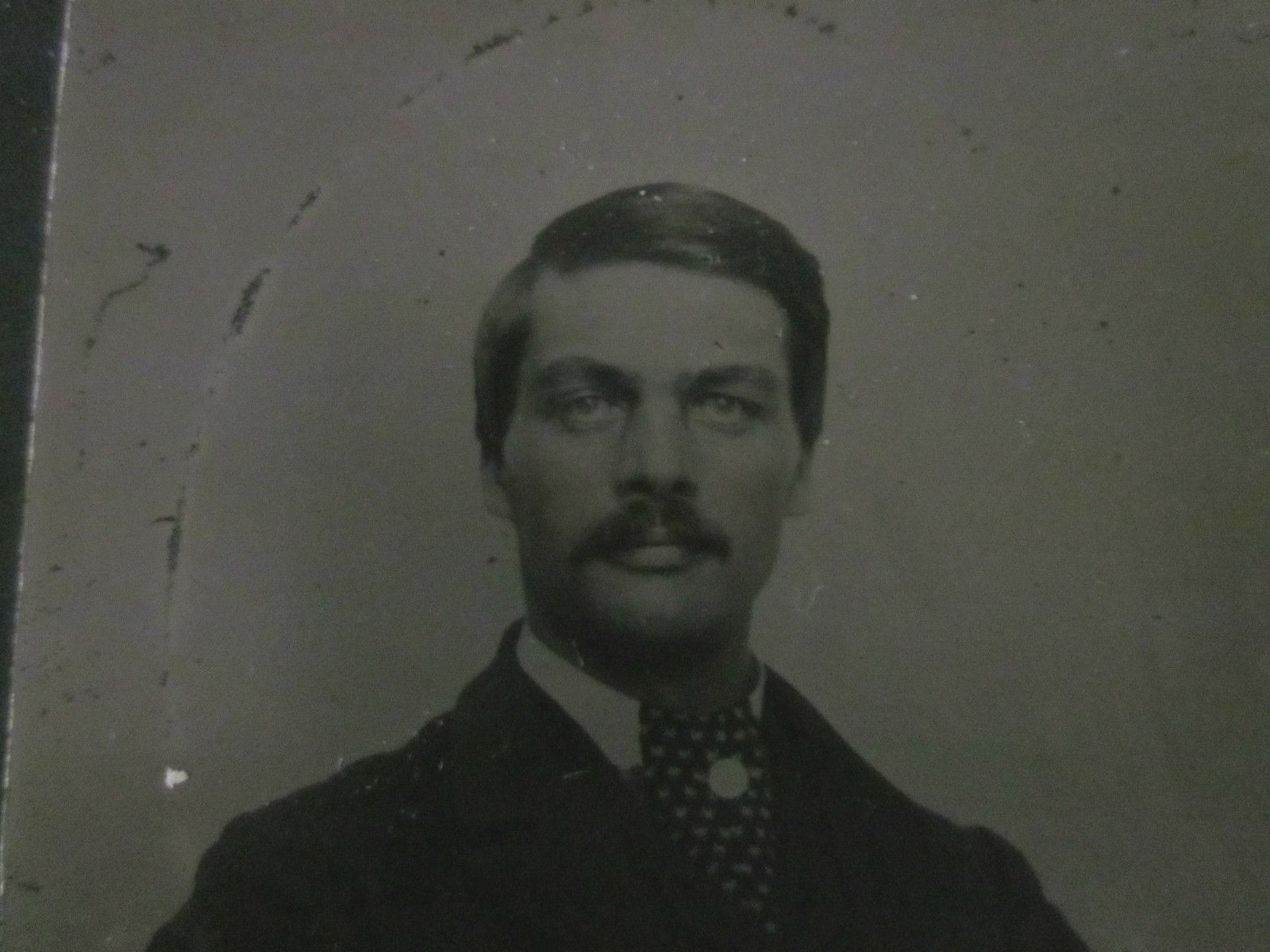 Unframed Daguerrotype or Tintype of A Handsome Gentleman with Cravat Mustache | eBay