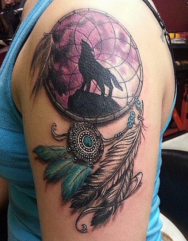 Dreamcatcher Tattoo On Left Shoulder Indian Dream Catcher Tattoos Wolf Tattoos Leg Tattoos