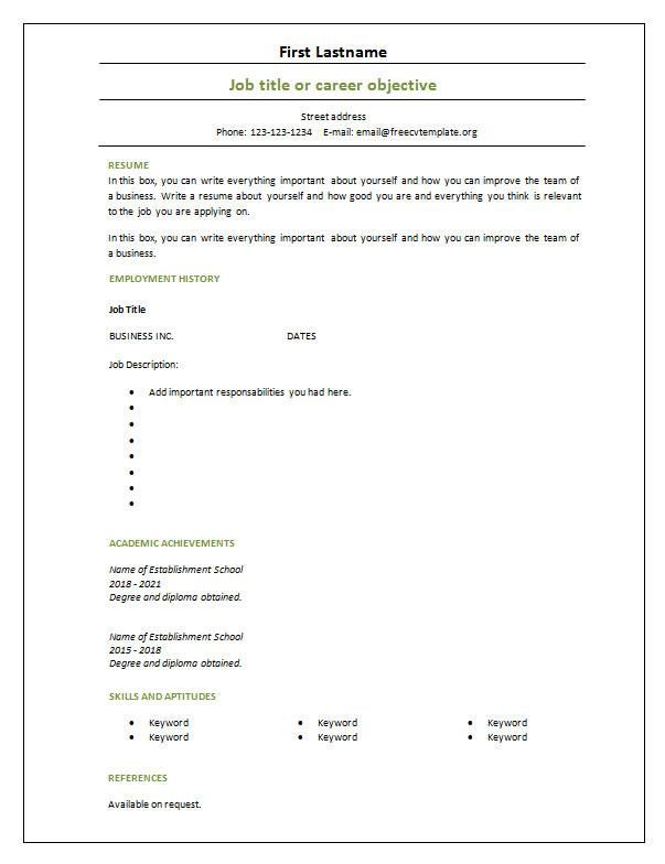 Resume Templates Blank 5 Templates Example Templates Example In 2020 Cv Template Download Cv Template Free Resume Template Download