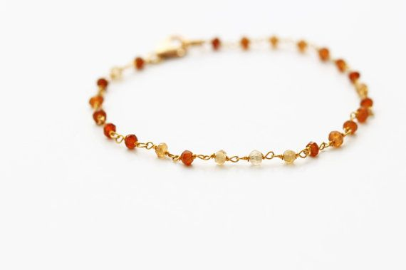 Tourmaline Bracelet.  14K Gold filled Wire and Lobster Clasp.  Brown. Earth Tone. Free U.S. Shipping.