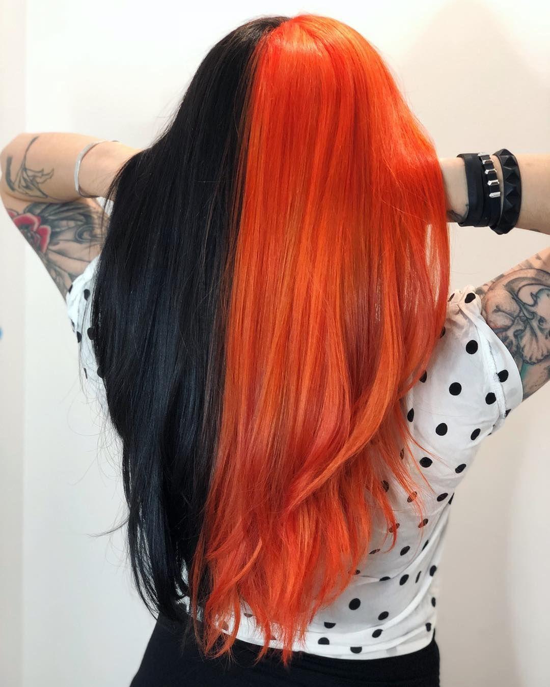 Fresh2death Ya Ll Halloweenprincess Halloween Hair Halfandhalfhair Orangeandblack Halloweenhair Two Color Hair Halloween Hair Dye Split Dyed Hair