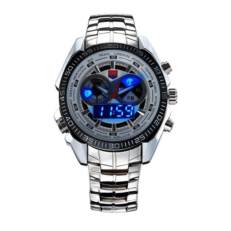 Men Blue LED Stainless Steel Sport Military Waterproof Quartz Wrist Watches