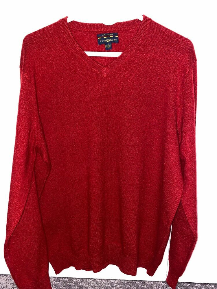 Mens Club Room V Neck 100% Cashmere Sweater Red L | eBay in