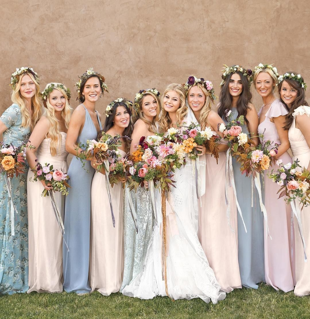 Floral mismatched bridesmaid dresses forecasting to wear for winter in 2019