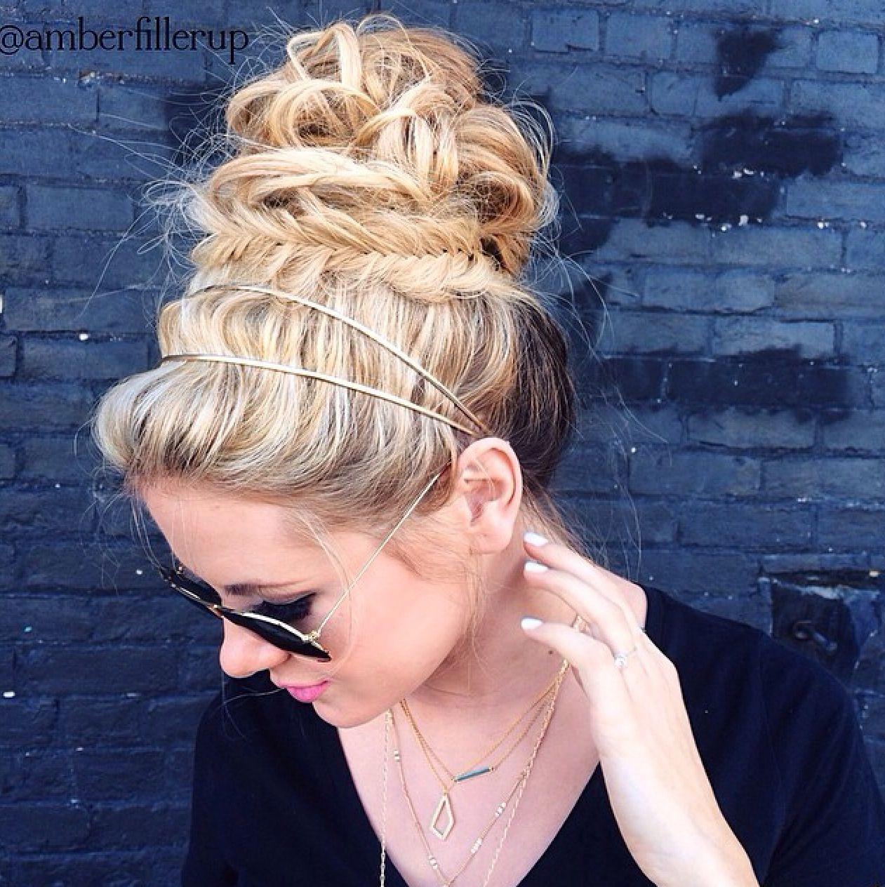 Messy bun and braid hair envy pinterest messy buns fishtail