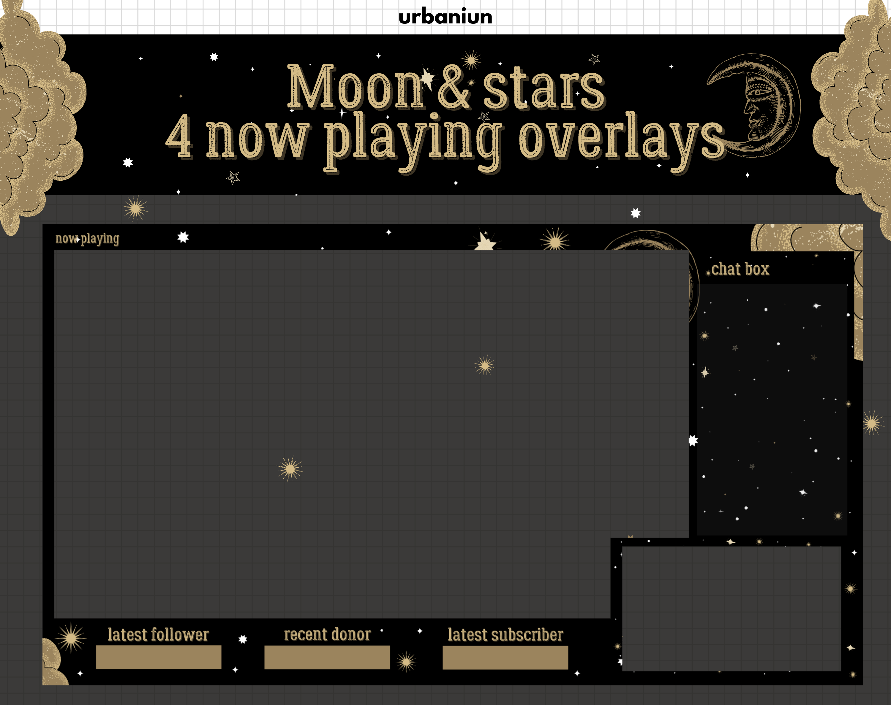 Twitch Moon And Stars Overlay Celestial Twitch Overlay Moon Etsy In 2021 Overlays Twitch Free Overlays