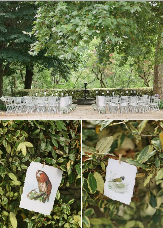 outdoor terrace wedding ceremony and illustrated bird decor