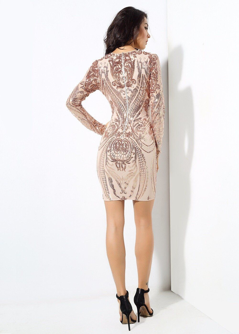 Honey crush rose gold sequin long sleeve mini dress pinterest