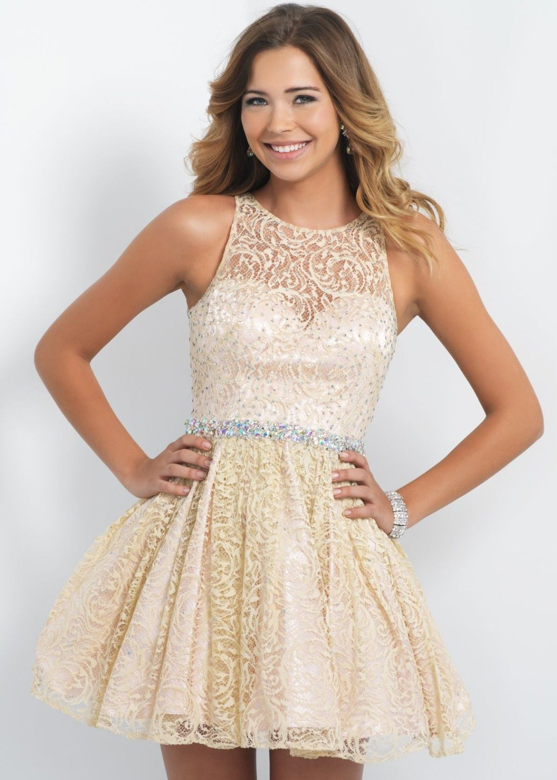 Sexy Champagne Lace Short Prom Dress Homecoming Party Dress Cocktail ...