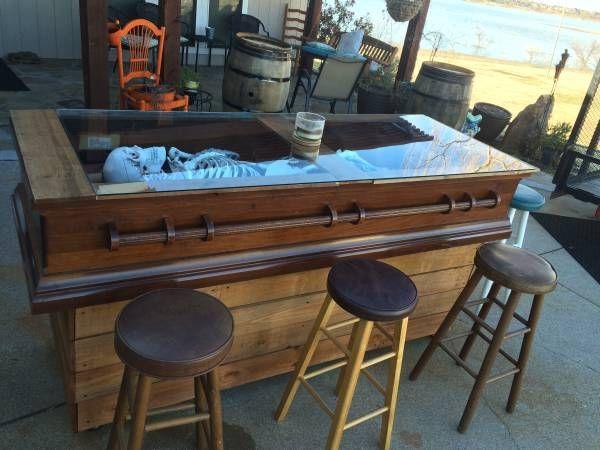 Coffin Bar with Skeleton Horror Man Cave Pinterest Skeletons - halloween desk decorations