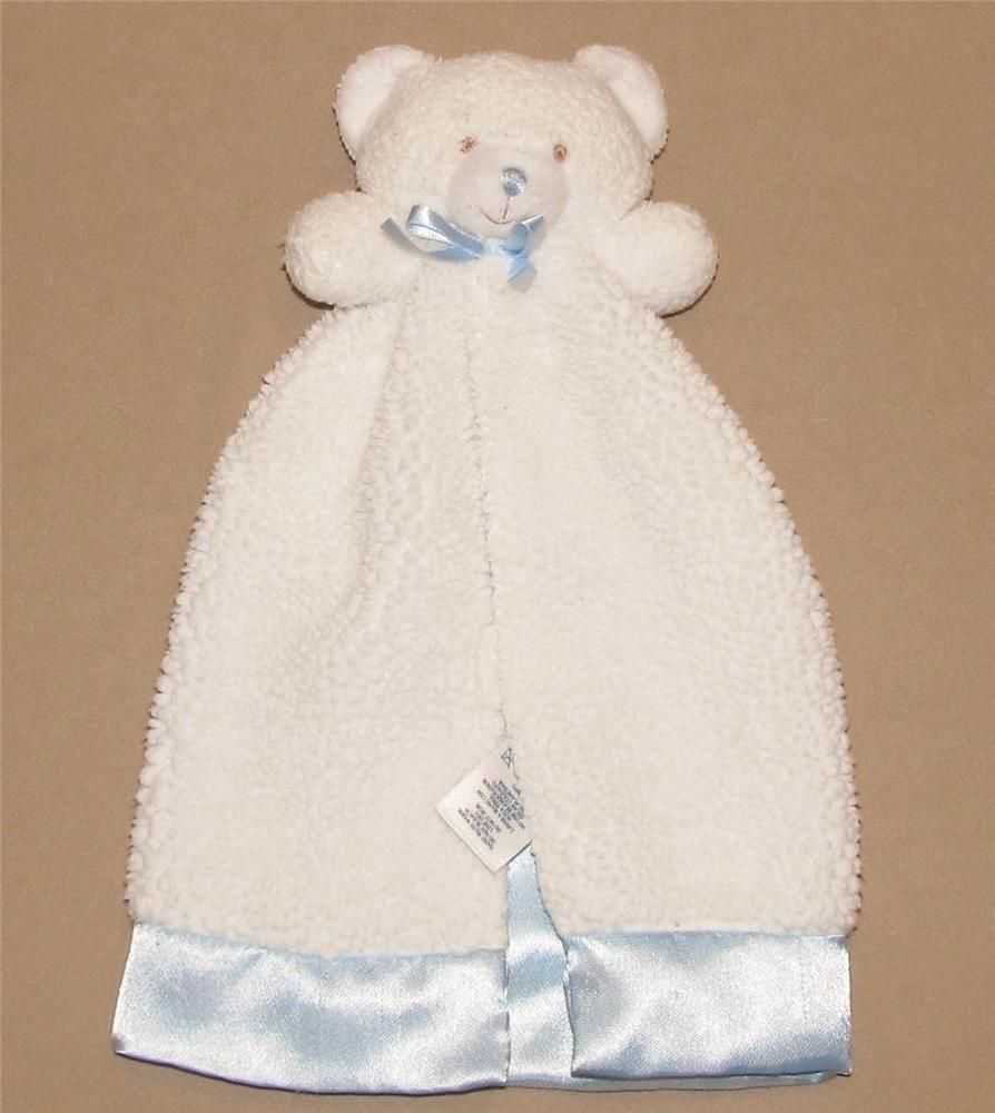 2c9cfed0cecfb Gerber White Blue Teddy Bear Security Blanket Lovey Sherpa Satin Baby Toy  12