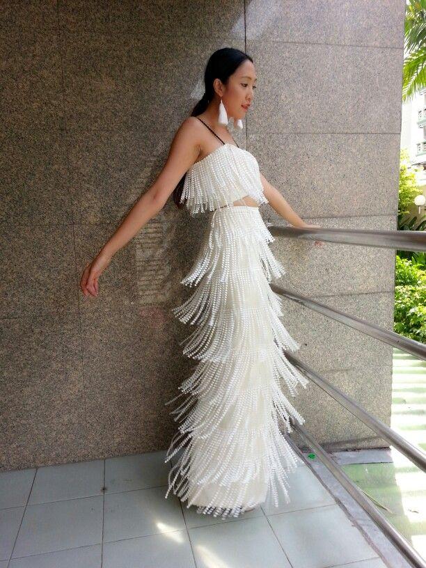 Classy White Dress Fringe Flapper