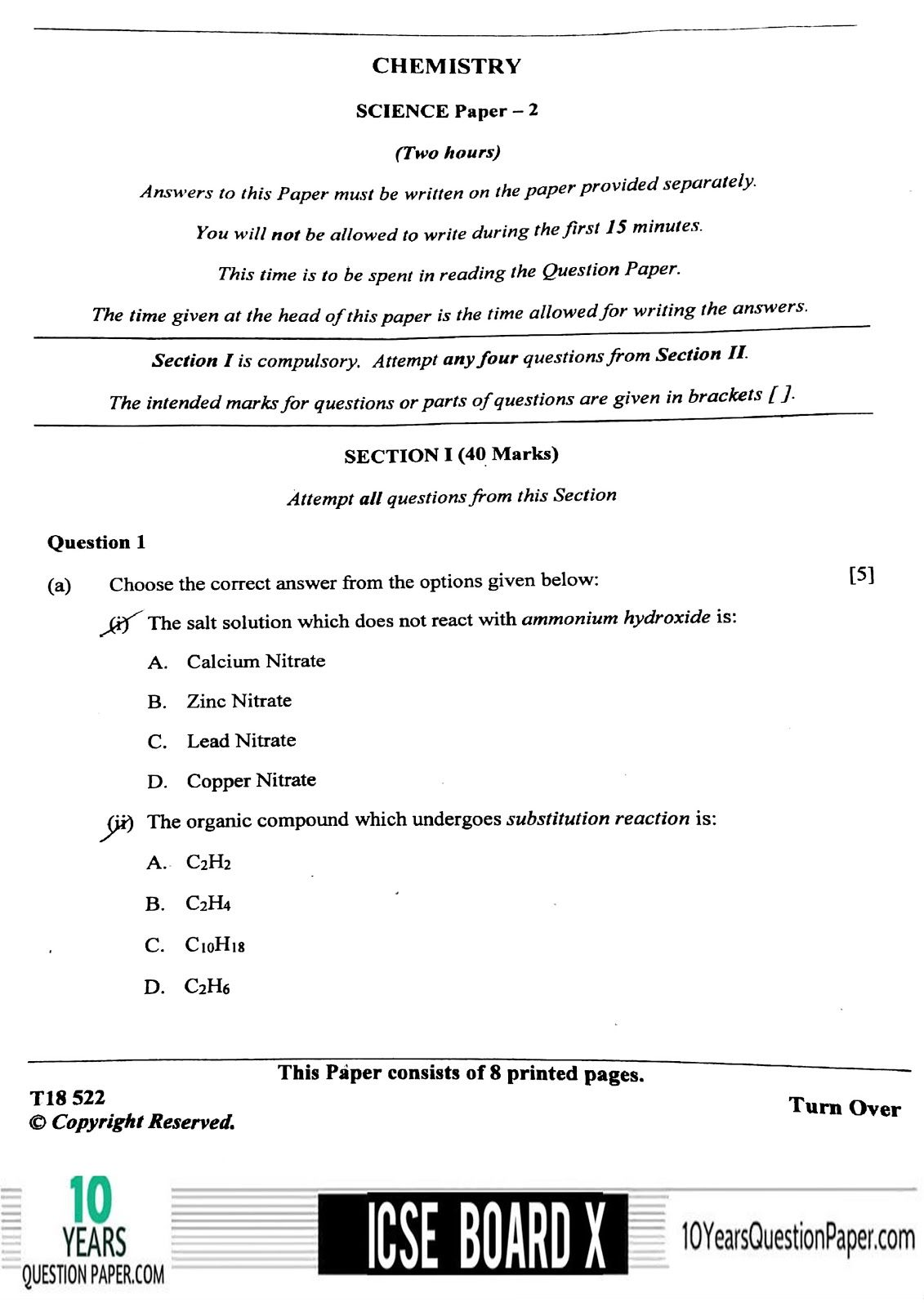 Icse Science Chemistry Board Question Paper For Class