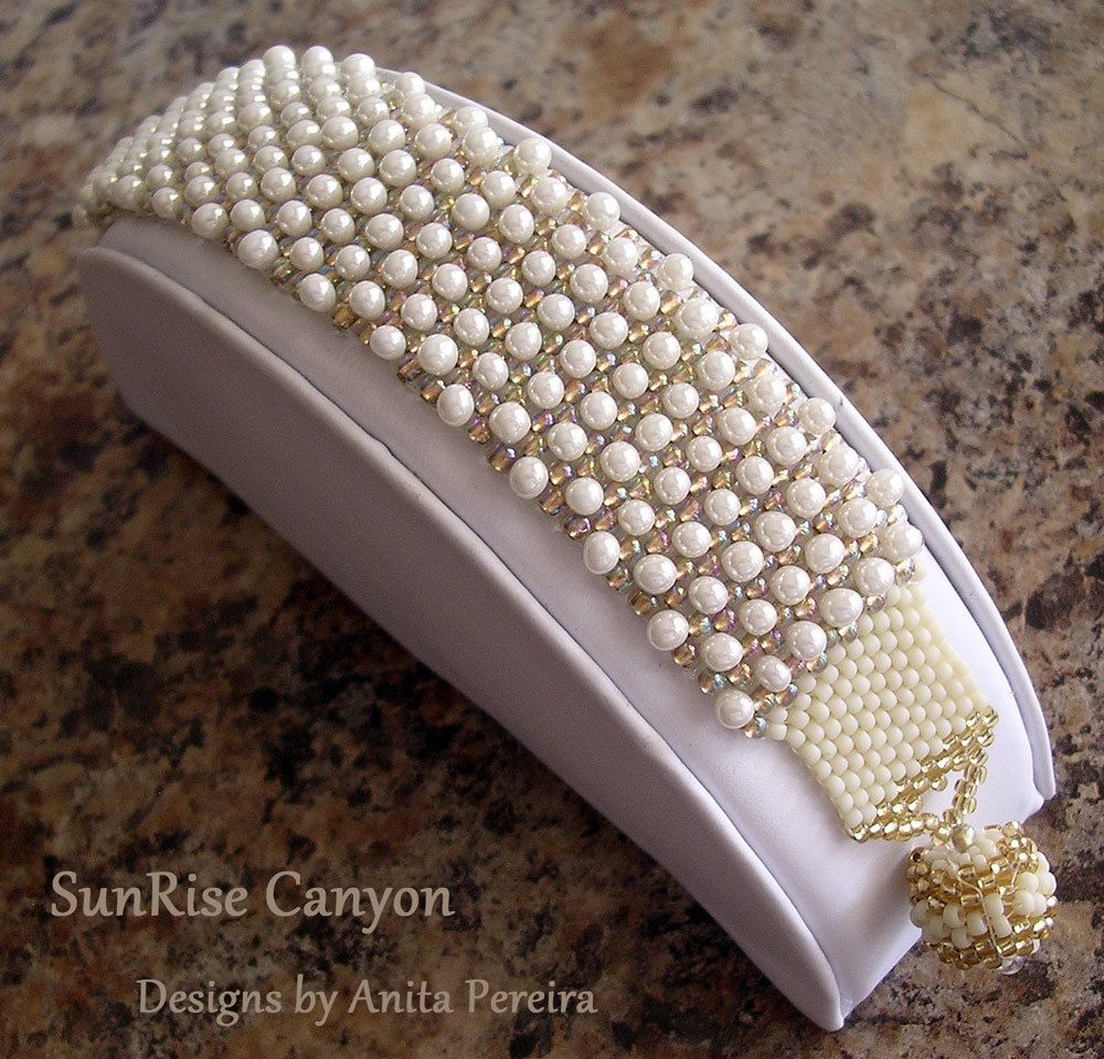 Beadwoven Pearl Bracelet with Fringe Beads. $46.00, via Etsy.