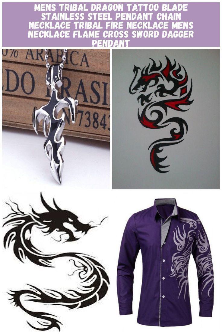 Photo of MÄNNER Tribal Dragon Tattoo Klinge Edelstahl Anhänger Kette Halskette Tribal …