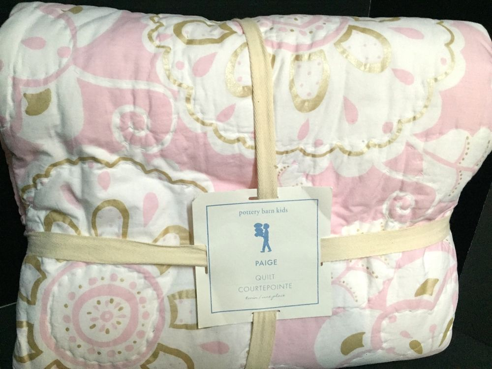 Pottery Barn Kids PAIGE Twin QUILT Pink Unicorn Flower Bedroom Bed ...