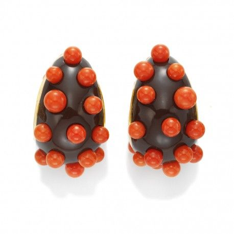 Brown ceramic and coral earrings Taffin