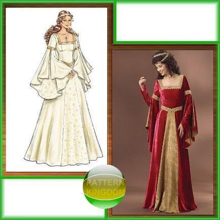 Butterick 60 MedievalRenaissance Princess GownDress Pattern Cool Medieval Dress Pattern