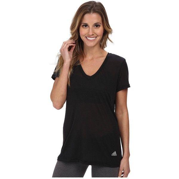 adidas Boyfriend Deep V-Neck Tee Women's T Shirt ($25) ❤ liked on