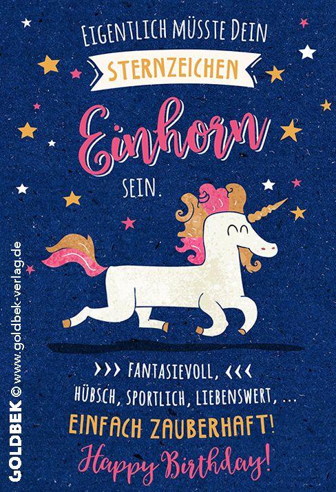 Postkarten Einhorn Einfach Zauberhaft Happy Birthday Spruche