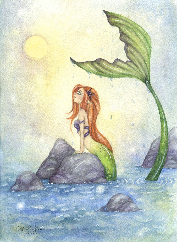 Mermaid Art Print 85x11 Mermaid Dreaming Fairy By