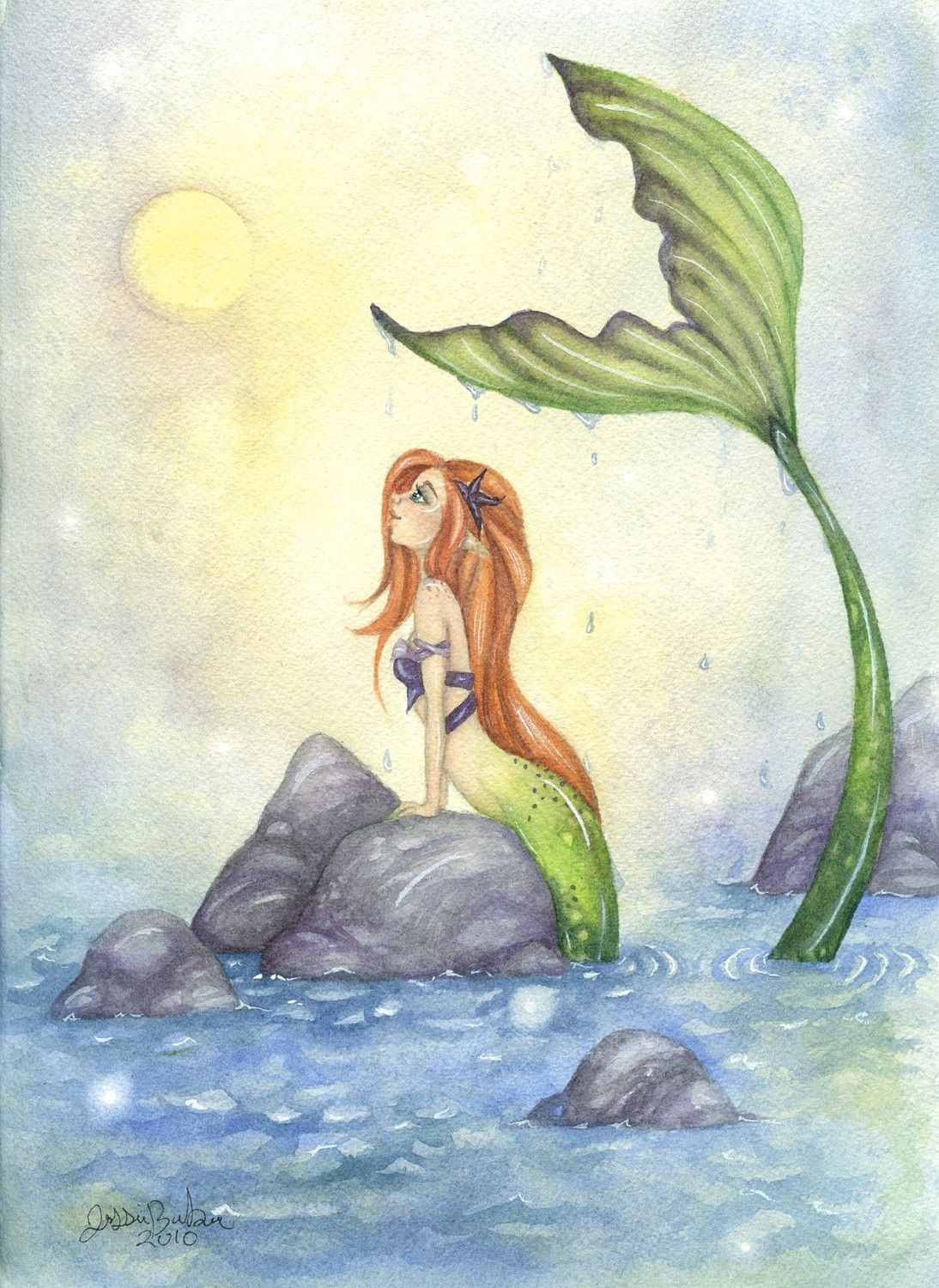 Mermaid Art Print 85x11 Mermaid Dreaming Fairy By Faerydustart