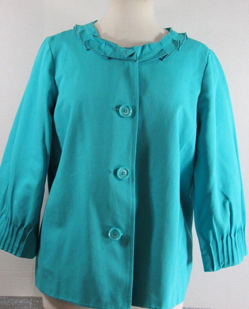 Du Jour Dress Jacket Medium Turquoise Cotton Fully Lined 3/4 Sleeve NWOT #DuJour #DressTopCoat #Casual