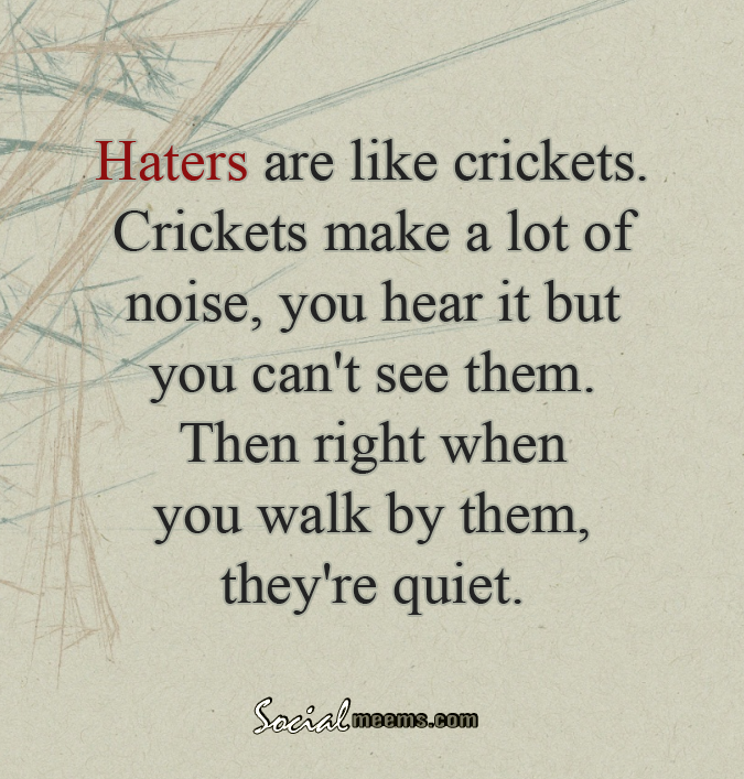 Haters Are Like Crickets Crickets Make A Lot Of Noise You Hear It But You Can T See Them Then Right When You Wa Haters Be Like Quotable Quotes Cricket Quotes